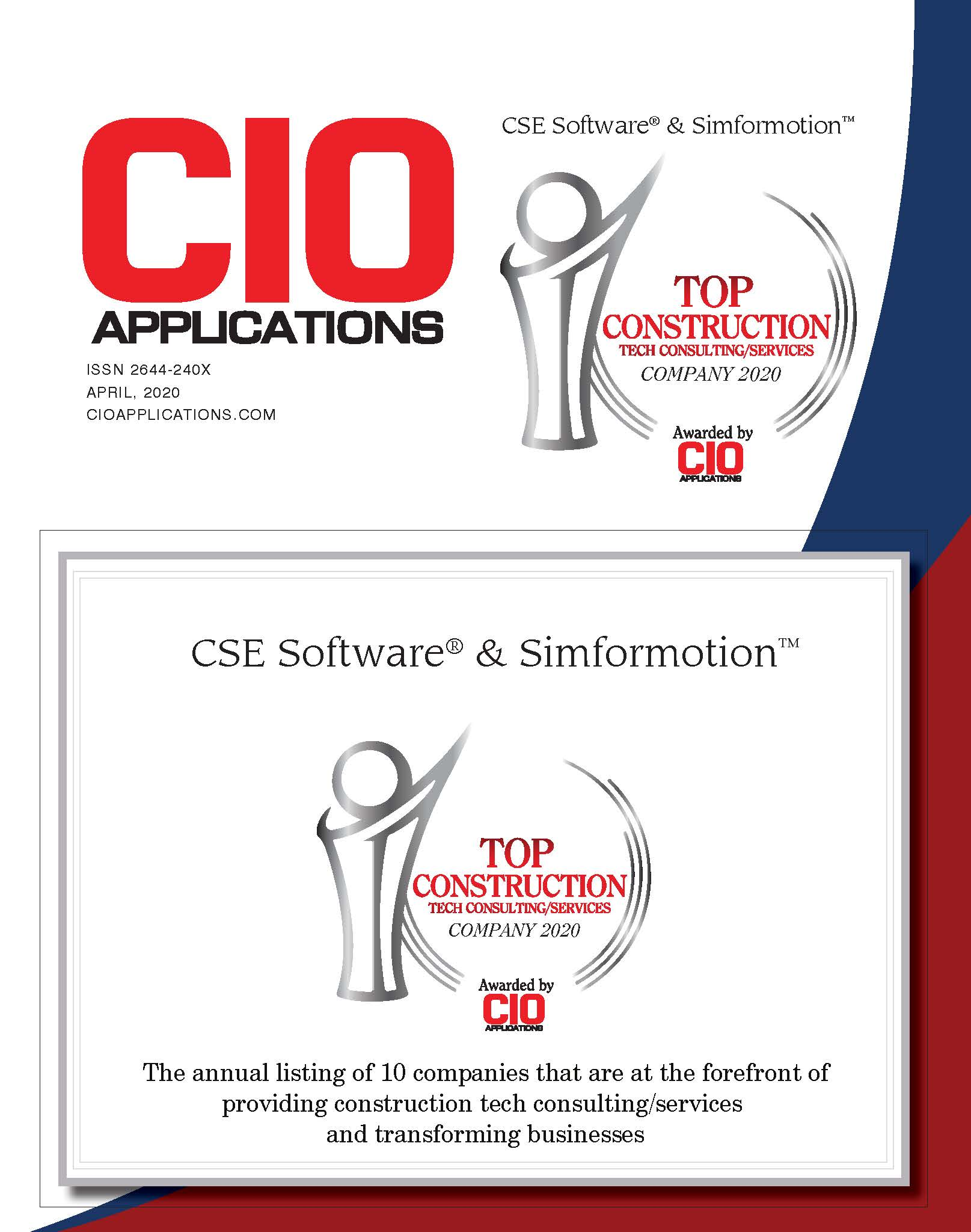 CSE SOFTWARE® INC. NAMED TOP CONSTRUCTION TECH SERVICES COMPANY